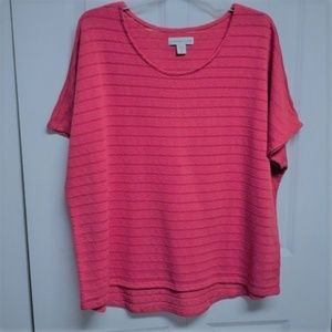 Coldwater Creek Blouse Size 1X Pink Stripe